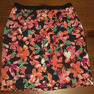 Ann Taylor Navy Floral Pencil Skirt Size 12P
